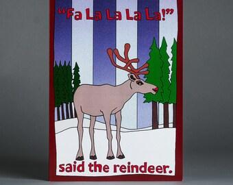 Reindeer Illustrated Blank Christmas Card