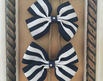White/Navy Bows