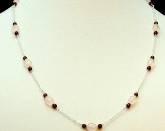 Rose Quartz Garnet Necklace