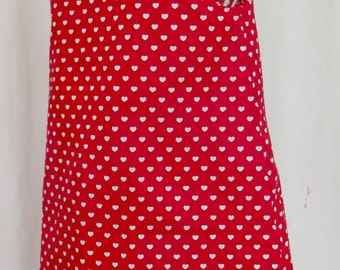 Girl pinafore dress red/white hearts, age 8
