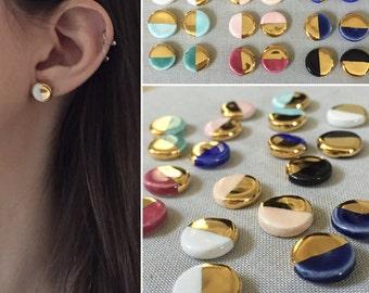 "Ceramic & 22k gold ""dipped"" stud earrings, minimalist geometric studs, gold earrings, ceramic earrings, minimalist earrings ceramic studs"