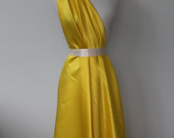 Butter yellow satin, Duchess Poly satin, Bridal fabric, Bridesmaid fabric, Formal fabric, Prom, Special occasion fabric, Drape, Sheen Satin
