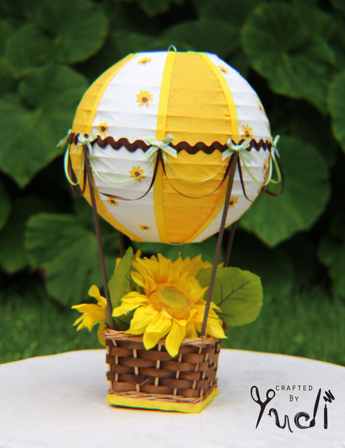 Hot air balloon centerpiece sunflower by craftedbyyudi