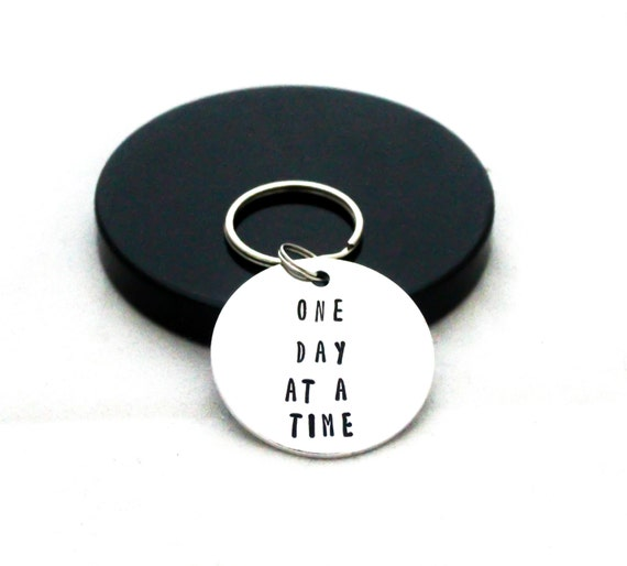 Sobriety keychain, one day at a time, addiction recovery ...