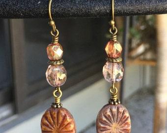 Czech Glass Dangle Earrings - Carved Czech Glass Earrings - Czech Glass Jewelry - Antique Brass Earrings - Earthy Jewelry