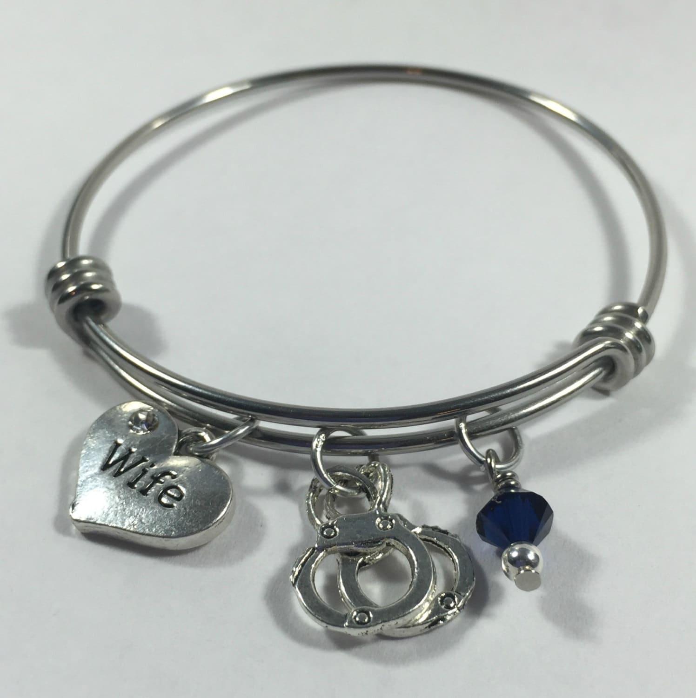 police wife bracelet thin blue line by wishingflowerjewelry. Black Bedroom Furniture Sets. Home Design Ideas