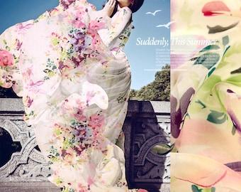 Elegant French Silk Chiffon Fabric By The Yard Flower Fabric Floral Print Fabric Clothing Fabric Scarf Fabric Dress Fabric Fashion Fabrics
