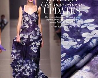 Indigo Silk Chiffon Fabric By The Yard Floral Printed Fabric Flower Fabric Women Dress Fabric Skirt Fabric Scarf Fabric Gown Fabric-YULAN