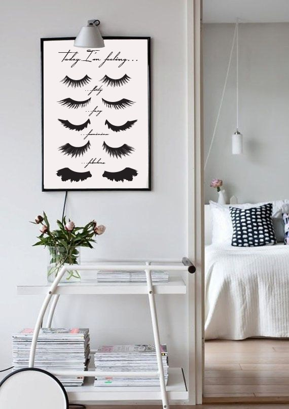 Minimalist poster eye lashes fashion print wall decor for Minimalist wall decor