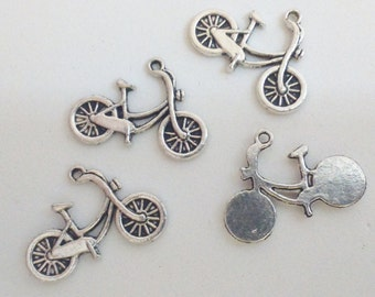 4x bicycle bike pendant silver 26 mm charm findings supplies vehicle transportation transport