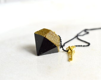 Black & Gold Diamond Necklace with Key Charm