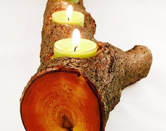 Full Log Branch Candle Holder