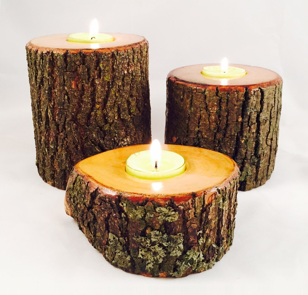 Natural wood candle tea light holder individual or by Wood candle holders