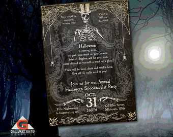 Spooky Halloween Skeleton Invitation Template - Spooky Skeleton Party Invitation - Customized Halloween Invitation Printable Halloween Witch