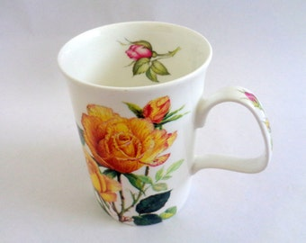 English Rose Tea Cup, Roy Kirkham, Yellow Roses Mug, English Bone China tea Cup,  Fine Bone China Tea Cup, England