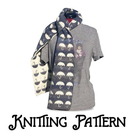 Umbrella Knitting Pattern : Rainy day umbrella scarf pdf knitting pattern by