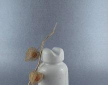 Porcelain Insulator, White Glazed Ceramic Insulator, Electrical Insulator, Gift for Him, Man Cave Small Vase, Heavy Porcelain Bookend