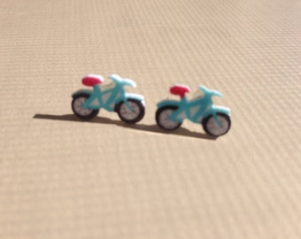 Stud Bike Earrings blue or red.