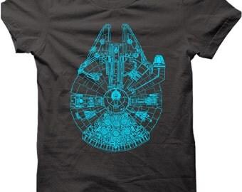 STARWARS Tshirt Millenium Falcon T-shirt - The Force Awakens Mens Funny T-shirt - Mens Christmas Gift Birthday Present Tshirt