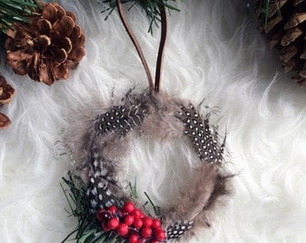 Feather Wreath Ornament - Bohemian Holiday Decor - Dreamcatcher Gift Tie On - Modern Boho Christmas Tree - Modern Rustic Tree Ornament