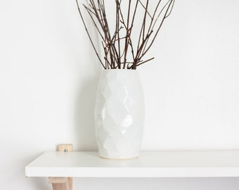 White Textured Ceramic Flower Vase by Barombi Studios