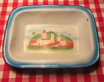 Portuguese Vintage - GUERREIRO - Enamel large Rectangular Casserole Bowl with a Airbrush Stencil Decoration - Made in Portugal - 1940s