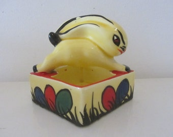 DITMAR URBACH hand-painted multicolor Pottery Art Deco Rabbit pin dish - Made In Czechoslovakia - 1930s