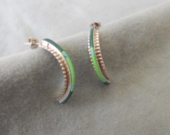 Earrings Sterling Silver and Malachite.   Stock #(1346).