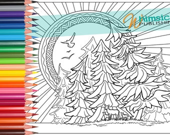 deer coloring pages trees sun eagle coloring for grownups adult coloring pages landscape colouring pages first nations - Mountain Landscape Coloring Pages