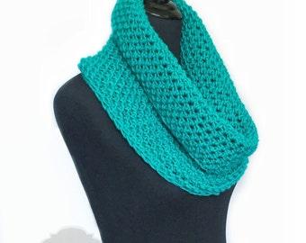 Teal Crochet Scarf, Green Crochet Cowl, Aqua Infinity Scarf, Emerald Green Neck Warmer, Dark Teal Crochet Scarf, Snood Scarf