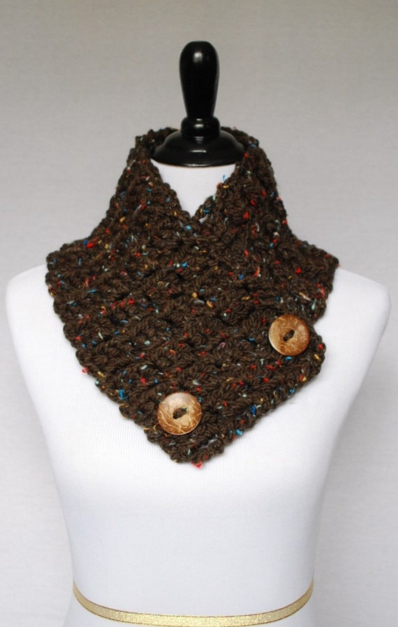 Brown Tweed Button Scarf, Crochet Scarf, Cowl Neck Warmer, Button Scarf, Crochet Wrap, Collar Scarf