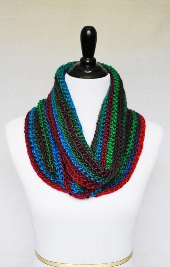 Blue, Green, Red Crochet Scarf, Crochet Cowl, Striped Neck Warmer, Infinity Scarf - Purple, Aqua, Moss, Maroon, Multi-Colored