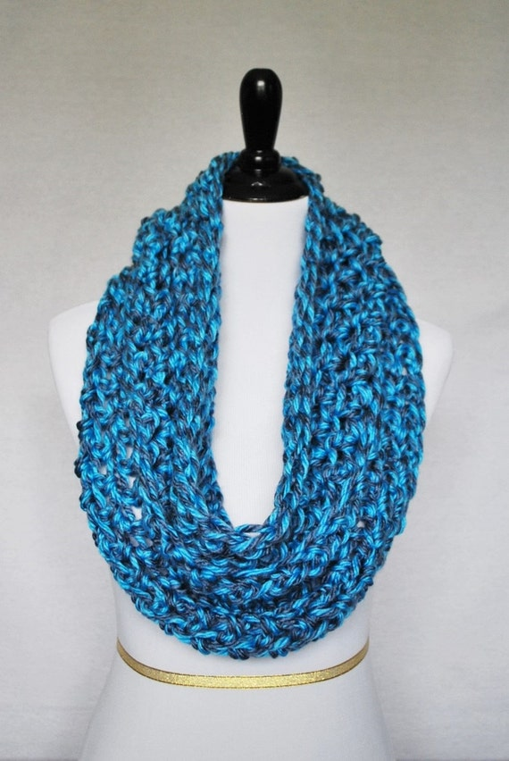 Blue and Gray Crochet Infinity Scarf, Long Cowl,  Neck Warmer