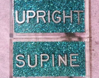 Set of X-ray Markers Supine and Upright glitter or plain background