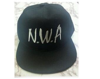 New NWA Embroidery Black FLAT Peak Snapback Cap Hat