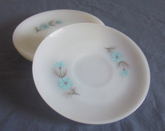 Fire King Oven Ware White/Milk Glass Replacement Saucers Bonnie Blue Flowers Bread Butter Plates