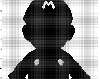 mario silhouette cross stitch pattern
