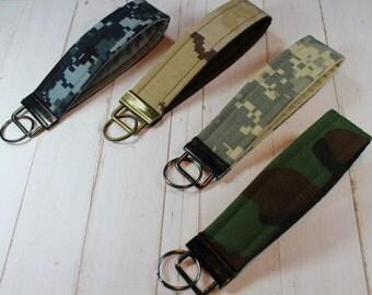 Key Chain / Key Fob Wristlet - Camouflage Fabric Keychain, Wrist Strap - Sale