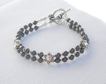 Swarovski black pearl 2-strand bracelet