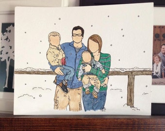 Custom Watercolor Family Sketch From Photo