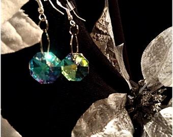 Czech crystal earrings, holiday christmas party earrings, wedding
