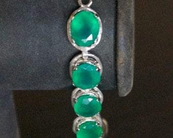 Elegant Green Onyx Silver Bracelet