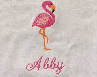 Pink Flamingo Bodysuit/Onesie--Pink Flamingos--Personalized