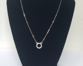 Stainless Steel Minimalist Circle Jeweled Necklace