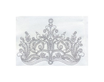 Delicate Regal Ornate Princess Crown Embroidery Design - Instant Digital Download