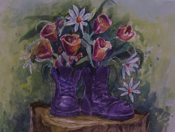 Purple Boot Planter,16x20 Original Watercolor,One of a Kind,Not a Print,Free Shipping Code SKYE2
