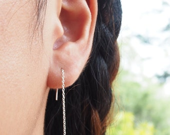 Whale Tail Threader Earrings, Tail Earrings, 925 Sterling Silver, Nautical Earrings, Minimalist Jewelry - SA88