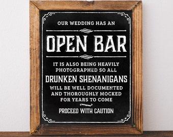 Chalkboard bar sign. Printable wedding bar decor. Open bar sign. Rustic bar decoration. Wedding Chalkboard decor. Chalk board bar sign