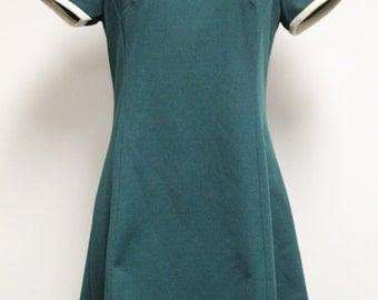 Vintage VICKY VAUGHN Dress Size L Green White Short Sleeve Knee Length 1970s