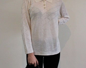 Jumper effect white vintage jacquard. Made in France.Taille L